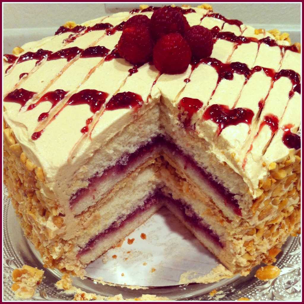 peanut butter and jam cake i made this cake yesterday delicious very ...