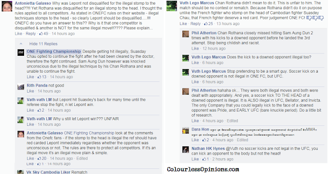 one fc 20 cambodia head stomp FB comments