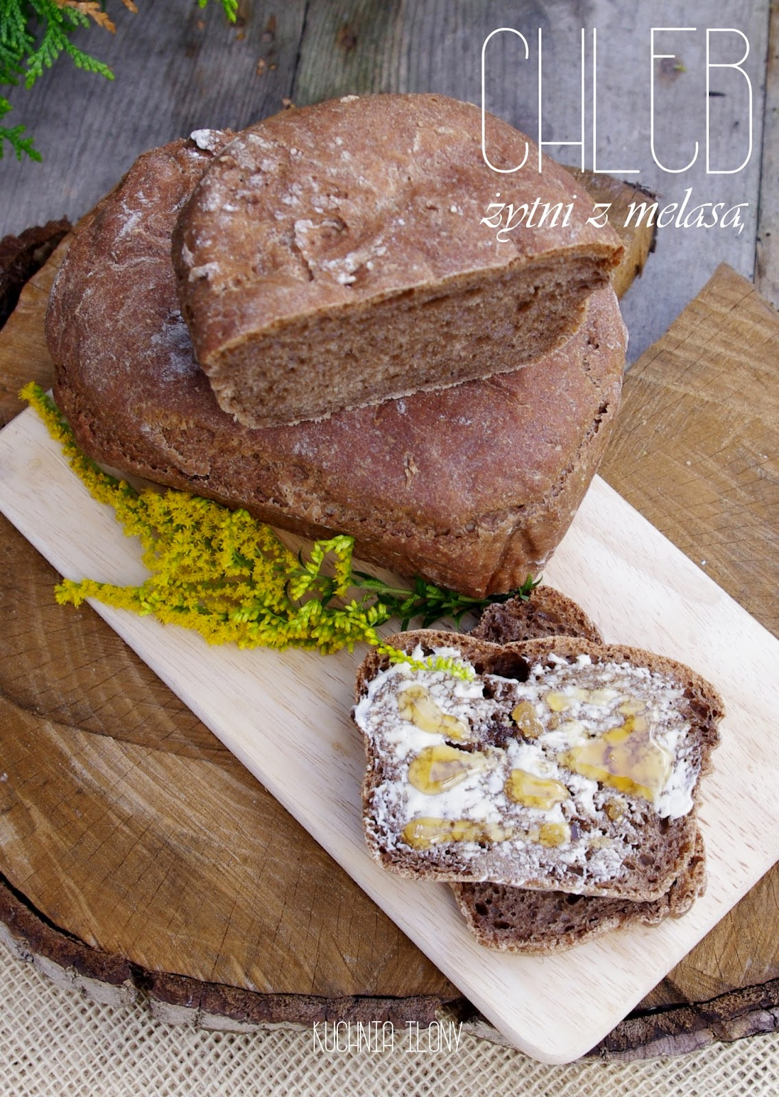 chleb żytni, chleb żytni z melasą, chleb, domowe pieczywo