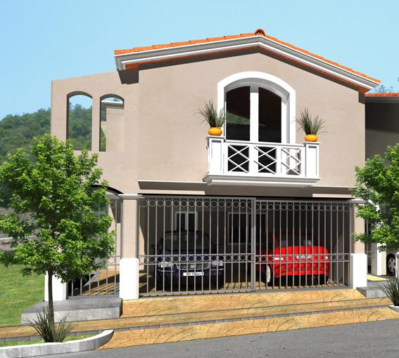 Fachada 1 de casa mexicana moderna en residencial valle for Casas modernas mexicanas