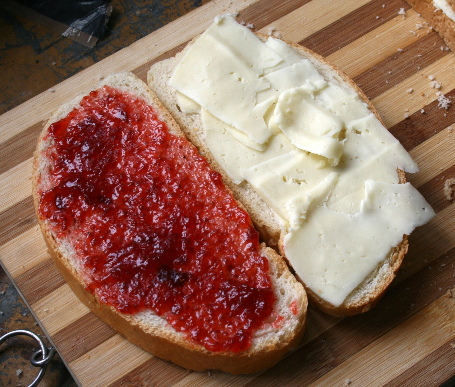 Cheese and strawberry jam sandwiches