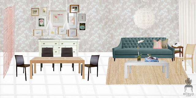 interior moodboard, room mood board, airy light fun living dining room, neutral walls, teal sofa