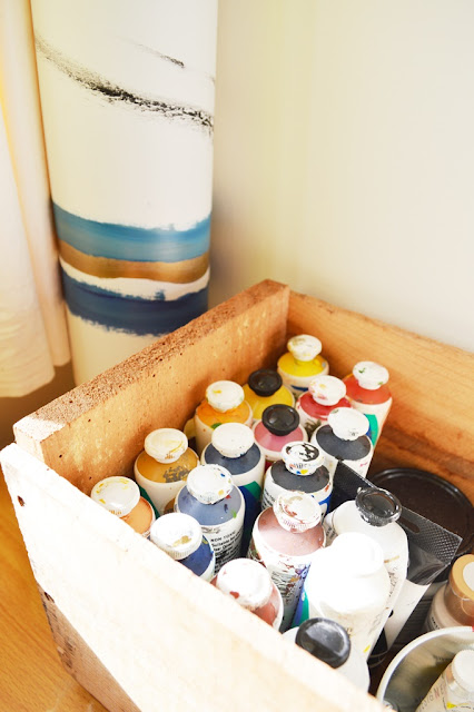 Simple art corner, wooden crate for paints. By Amy MacLeod