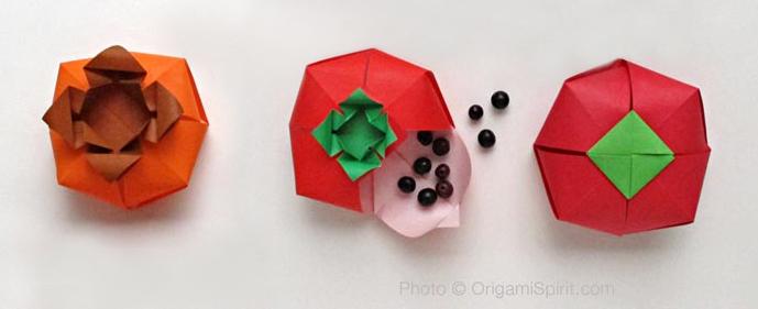 Origami Tomato Shaped Box Instructions