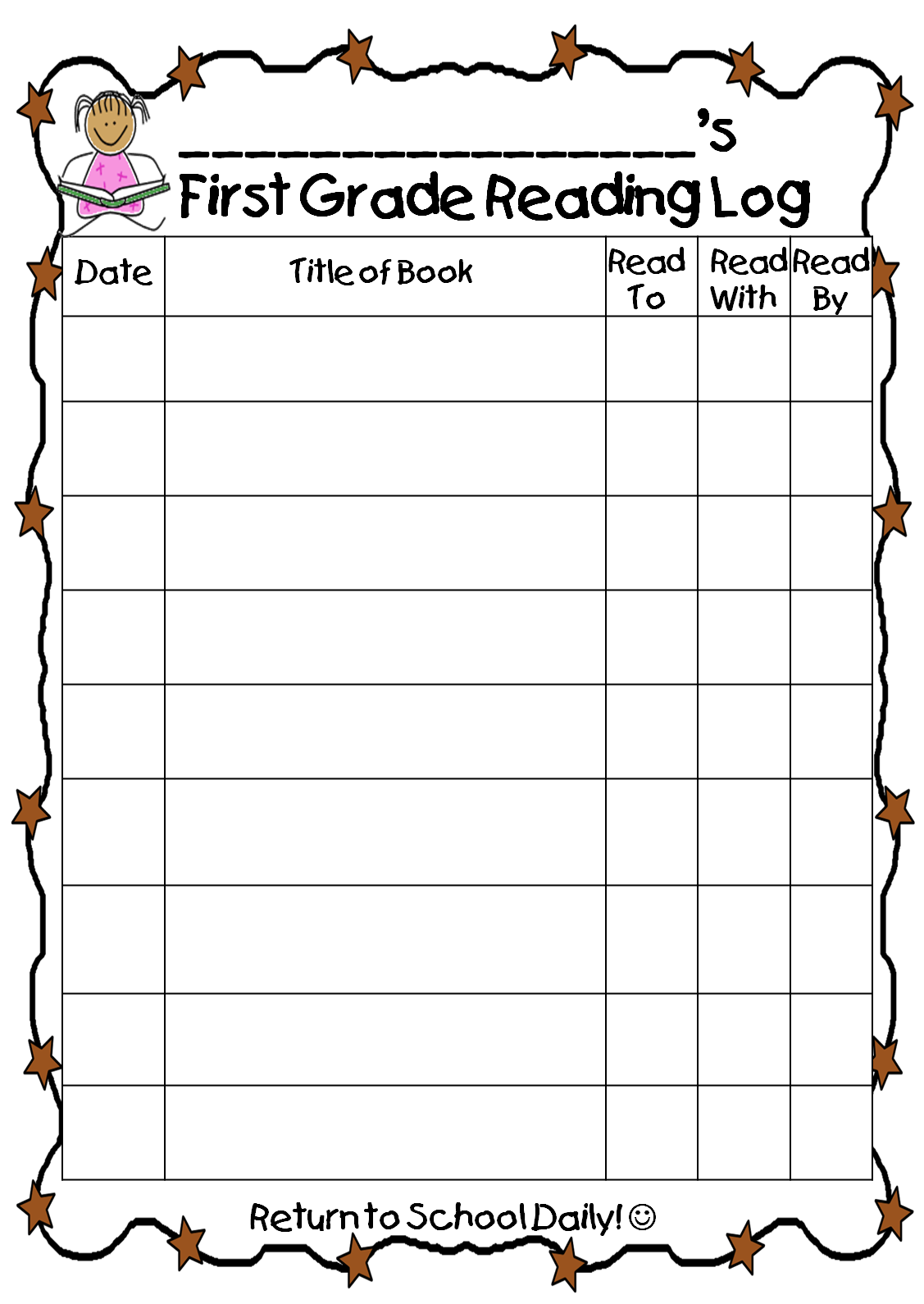 First Grade Wow Reading Log – Reading Log Template