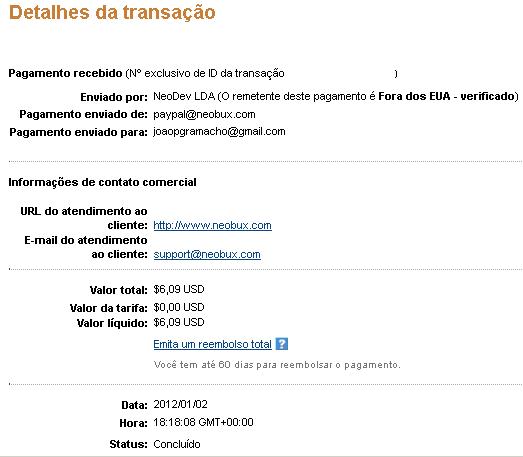 5ª Prova Pagamento Neobux  (6,09 $)