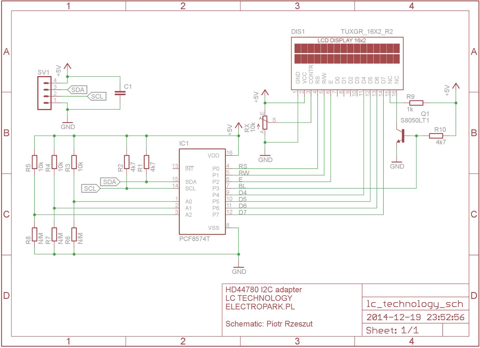 Adapter HD44780 I²C - schemat modułu z oferty Electropark.pl (produkcja LC Technology)