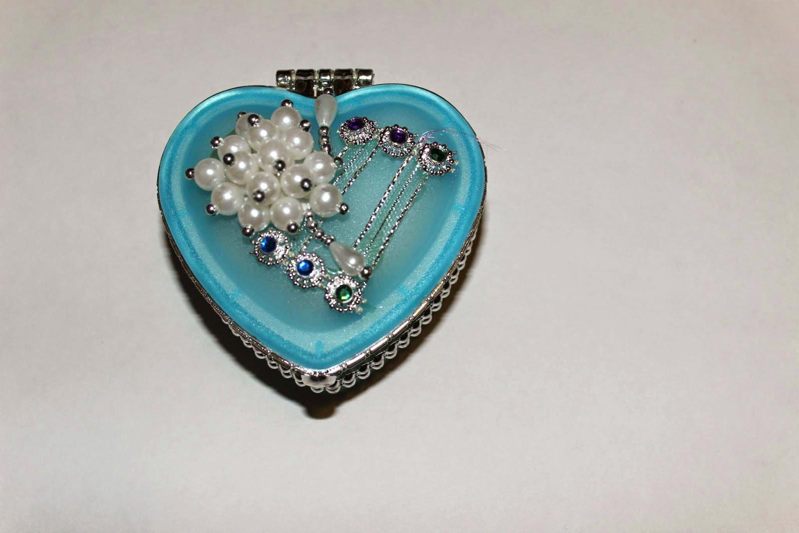 Blue Pearled Jewlery Box