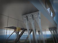 Detail kotvení kabiny Hýlačky ocelovými táhly