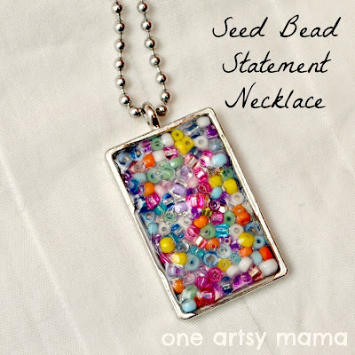 seed bead pendant necklace mod podge dimensional magic