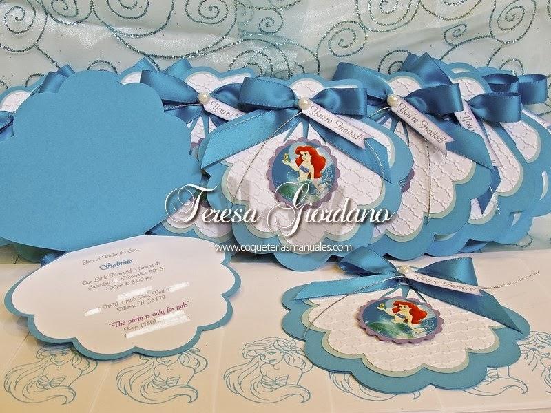 COQUETERIAS MANUALES: INVITACIONES DE SIRENITA - LITTLE MERMAID PARTY