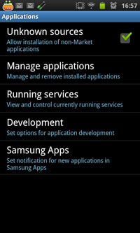 Android Setting Allow installation on non-Market Application