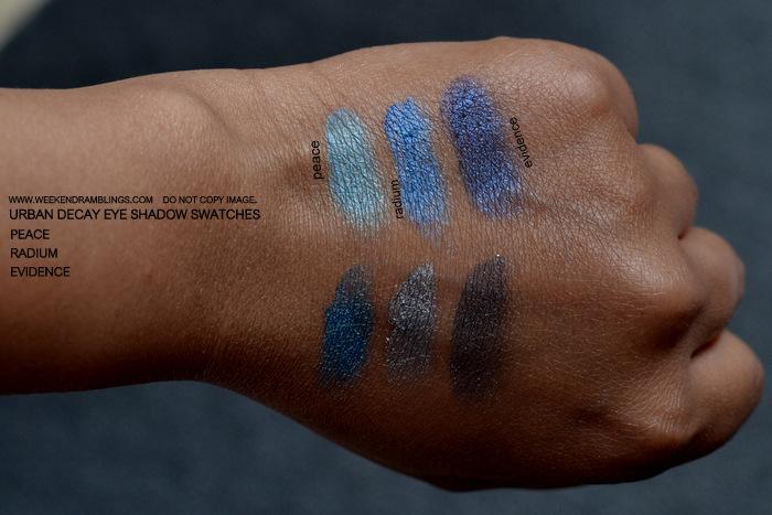 Urban Decay Makeup Eye Shadow Swatches Peace Radium Evidence Indian Beauty Blog