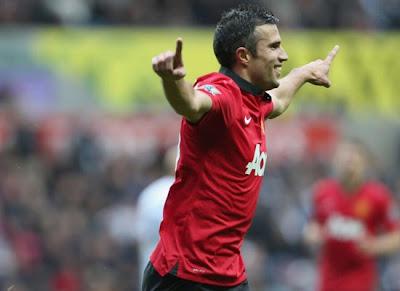Robin Van Persie Manchester United v Swansea 2013
