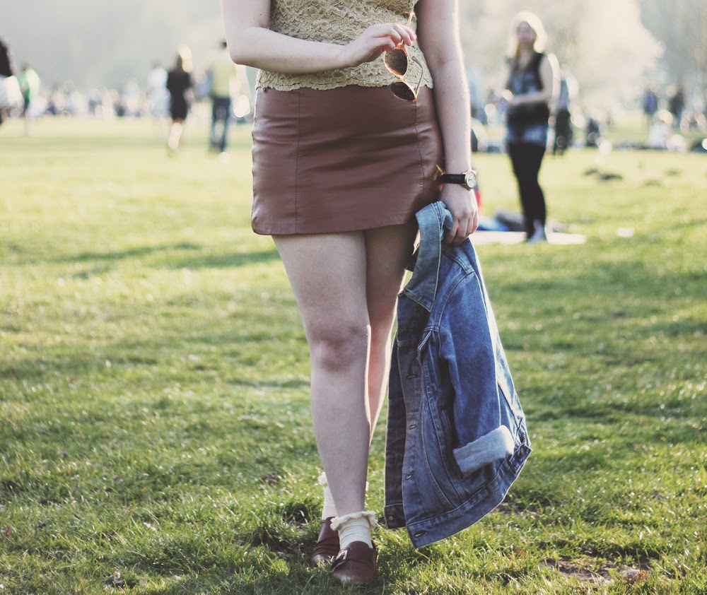 topshop brown leather skirt