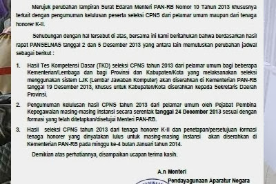 Kepastian waktu pengumuman hasil TKD CPNS 2013 pada 24 Desember.