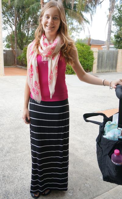 Alexander McQueen Skull Scarf, Pink tank, Stripe Maxi Skirt new mum outfit