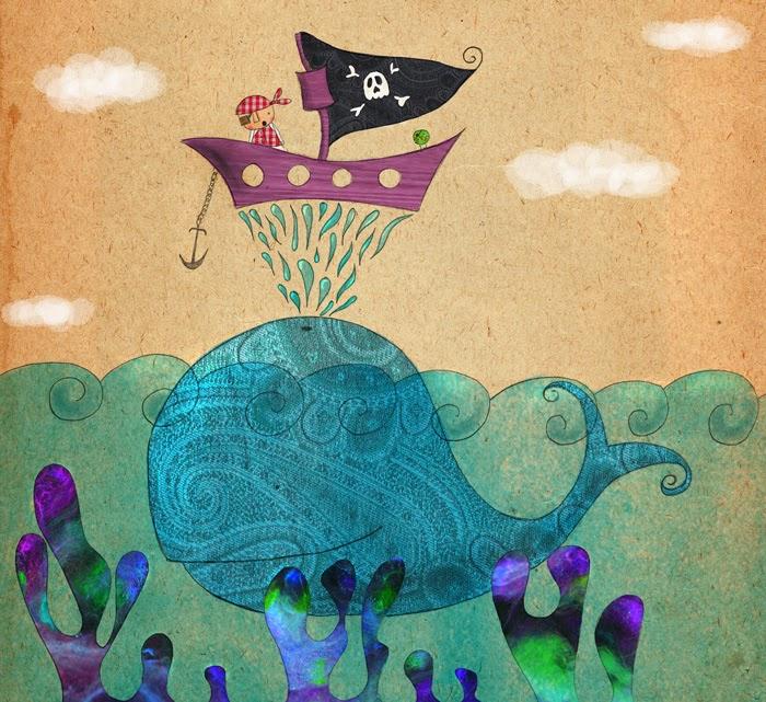 El niño David de pirata encima de la ballena