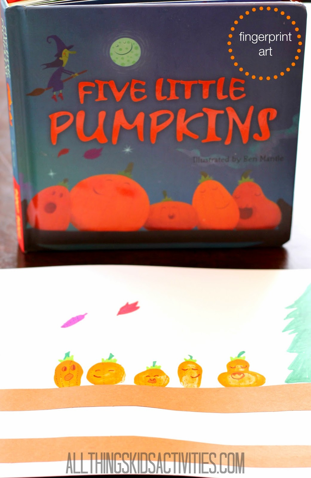 Fingerprint Pumpkin Art for Five Little Pumpkins by FSPDT on ATK