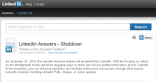 (Screenshot) LinkedIn's official announcement: LinkedIn Answers shutdown
