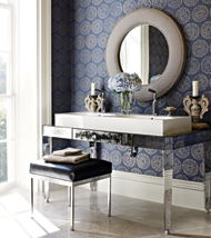 Thibaut Wallpaper Maryse Metallic on Navy T-751