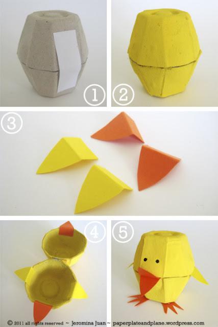 Pintinhos feitos com caixa de ovo