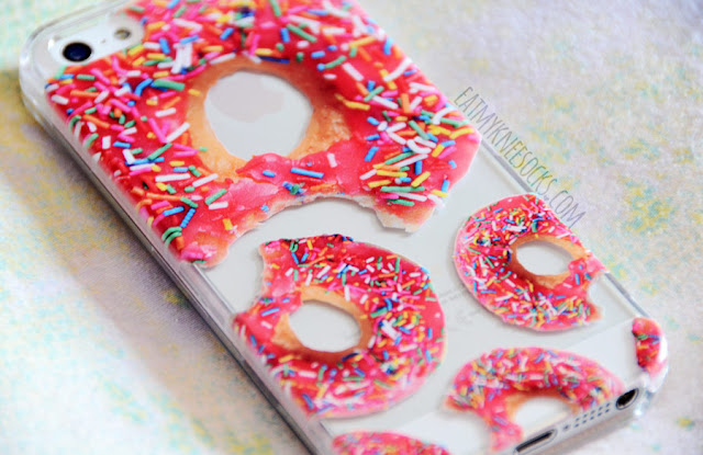 More photos of the cute, quirky, fun, delicious pink donut-print clear phone case from Clash Cases.