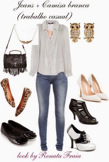 Jeans + Camisa branca: dupla infalível! Adoro!