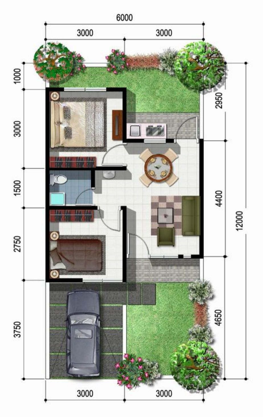 contoh denah rumah minimalis idaman