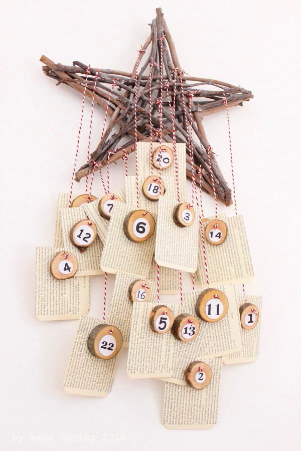 DIY, Adventskalender selbstgemacht, Basteln, Weihnachten, Advent, Dezember, Tutorial, Baumscheiben, alte Buchseiten falten