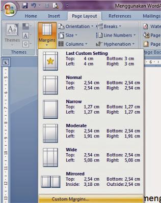 Mengatur jarak Margin dalam Microsoft Word
