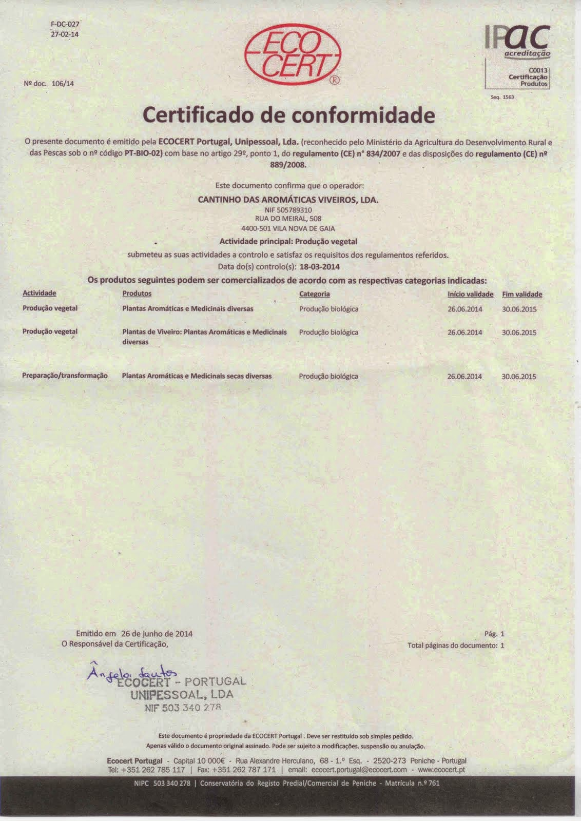Certificado de Conformidade 2014