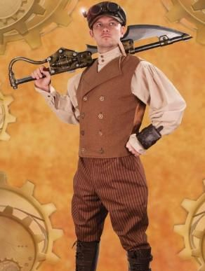 Brown Steampunk Engineer Vest for Men