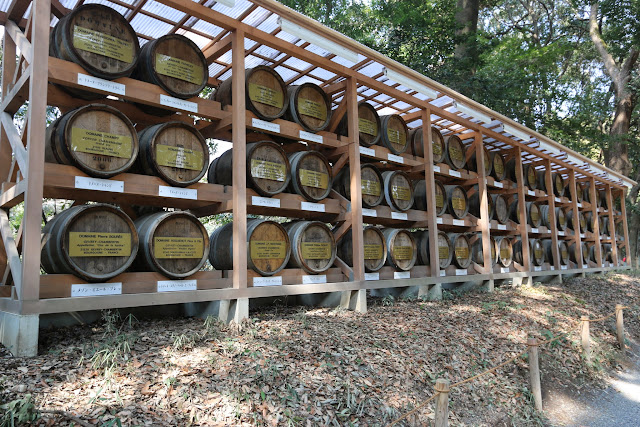 Barrels of wine are offered by wineries of Bourgogne in France for consecration to maintain long friendship between France and Japan at meiji Shrine in Tokyo, Japan