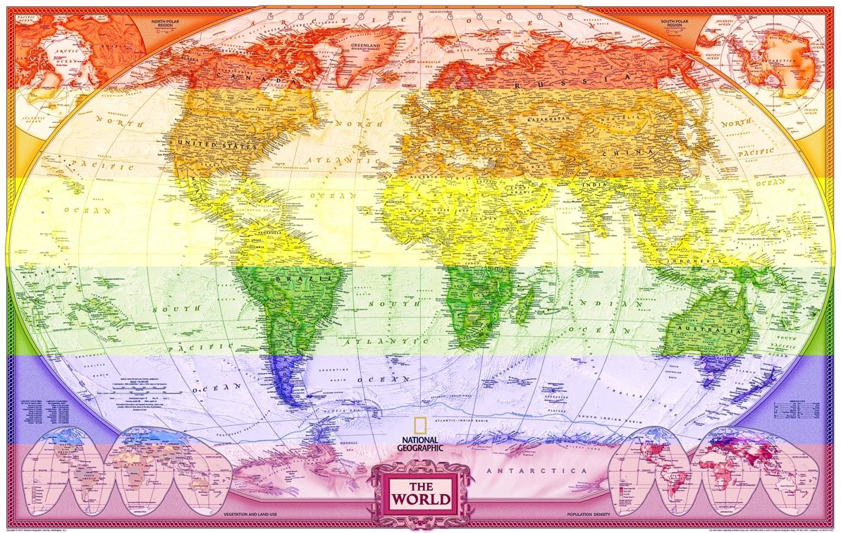 Mapa Mundi Gigante Hd Arco Iris Papel Do Mundo Decora Parede  R