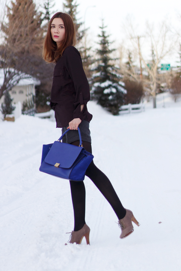 workwear, winter fashion, back to school, wool shorts, calgary fashion, celine trapeze indigo, oxford booties, lady dutch