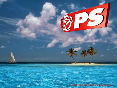 Fundo de tela do Partido Socialista. Logotipo da Rosa em perspectiva do PS em fundo Ilha Azul