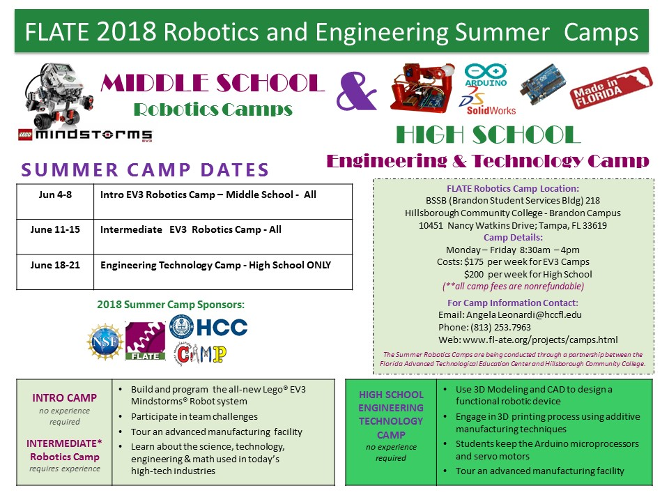 FLATE 2018 Robotics and Engineering Summer Camps