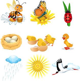 春を呼ぶ昆虫のアイコン Cute cartoon insects icons of spring イラスト素材2