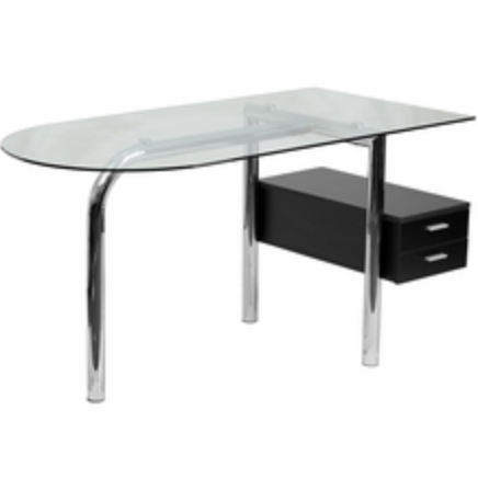 Glass Home Office Desk with Pedestal by Flash Furniture