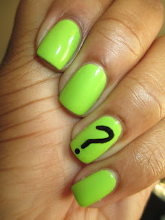 Lime green, question mark, nail art, nail design, mani