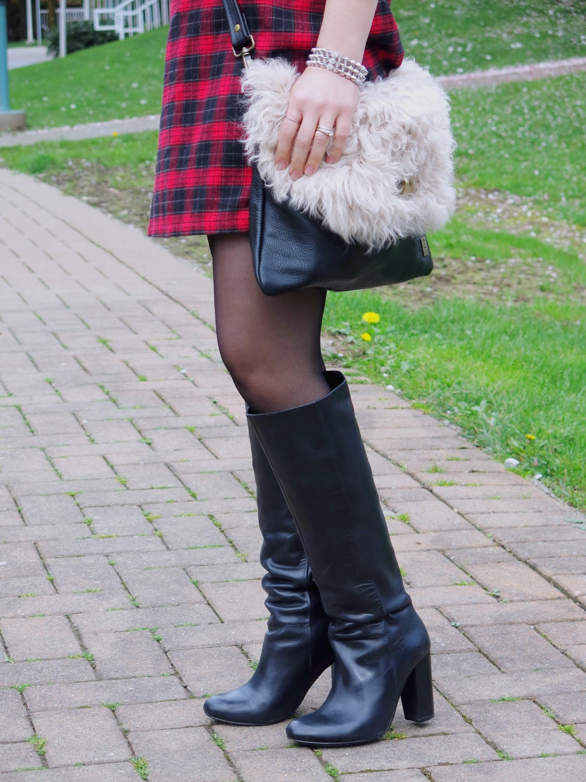 red plaid dress and accessories