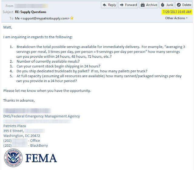 FEMA Demanding 24 Hour Delivery Of Emergency Food Reserves