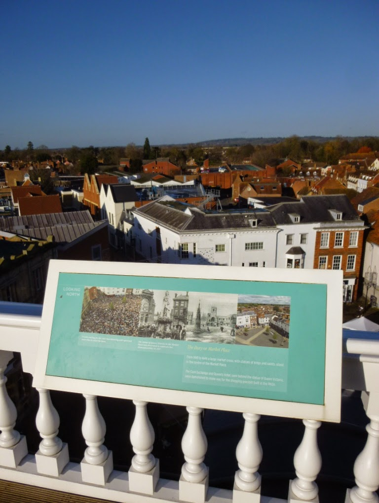 Looking north from the rooftop of Abingdon County Hall Museum. Among the images on the display board is a crowd scene from the 2011 Bun Throwing. It was great to be able to pick us out in the crowd too