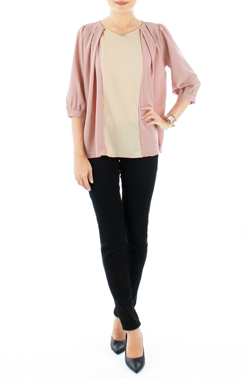 Lavender Pink Beautiful Butterfly Blouse with ¾ Sleeves