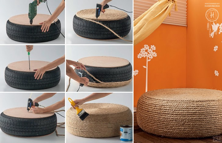 How to recycle recycled rope craft ideas for Recycling furniture decorating ideas
