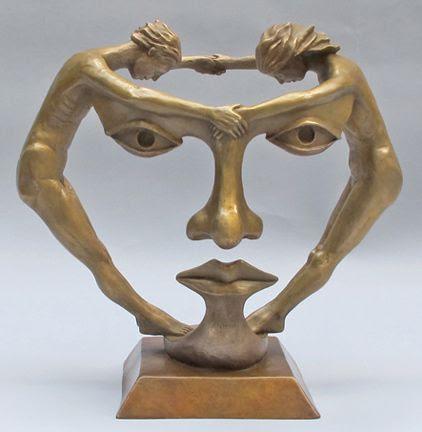 Michael Alfano esculturas de corpos rostos surreais bronze cobre Nós dois juntos