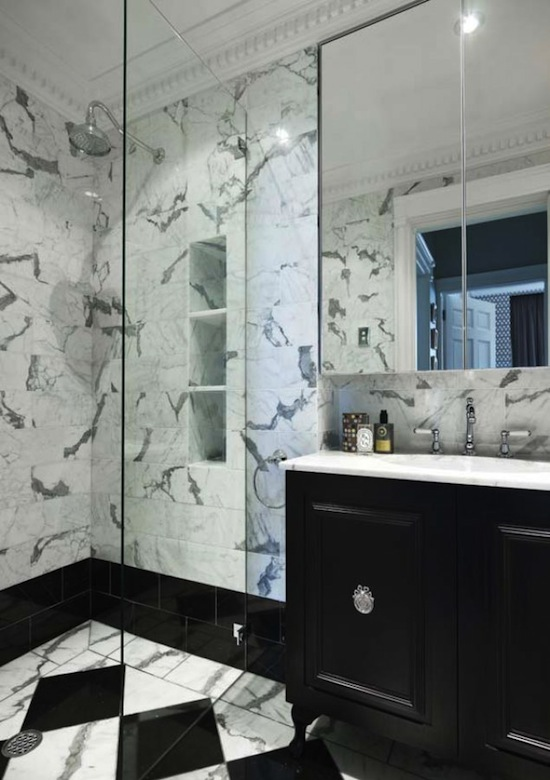 black and white marble bath and shower