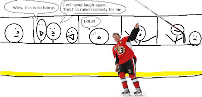 daniel alfredsson throws stick senators leafs
