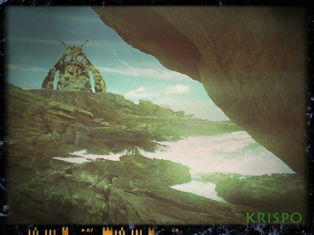criatura de roca en costa del monte jaizkibel